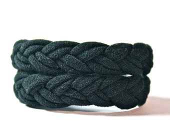 FABRIC BRACELETS braided cotton upcycled jersey cuff in Black
