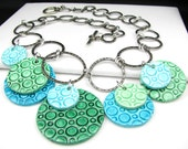 Celebration of Circles Polymer Clay and Hammered Rings Necklace