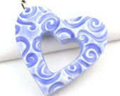 Open Heart Pendant Cornflower Blue Swirl Polymer Clay