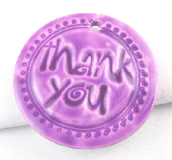 PIF Thank You Pendant Polymer Clay Orchard Purple