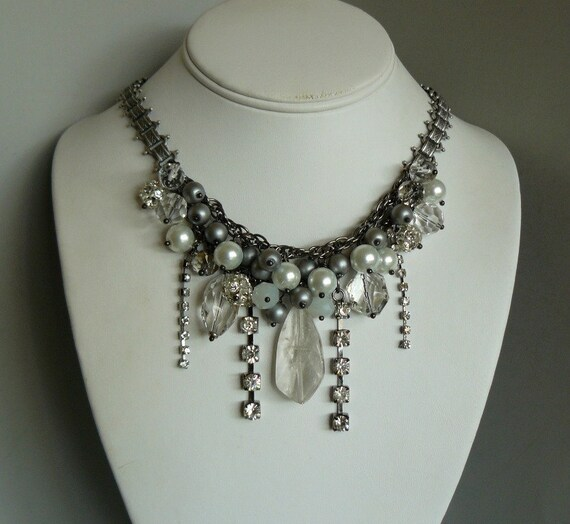 Waterfall Party Necklace with Crystal Quartz, Rhinestones and Pearls