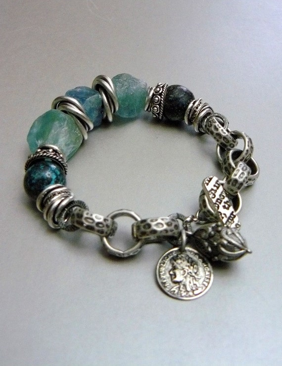 Currents with Natural Apatite Nuggets, Turquoise, Charms, and Mixed Silver Metals: Last of this style available
