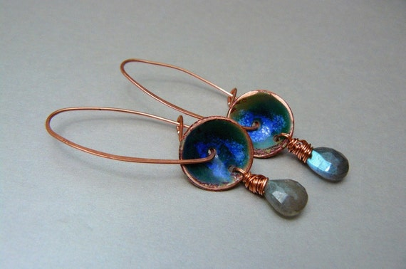 Breaking Wave Artisan Earrings with Glass, Copper, and Labradorite