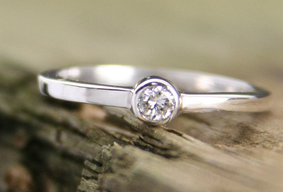 Diamond Engagement Ring, Handmade Sterling Silver Wedding Ring, 3mm Diamond Ring