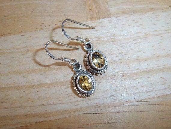 vintage - Citrine Earrings - Sterling Silver Earrings - Citrine and Sterling Silver