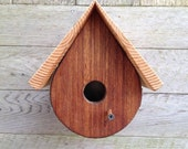 Birdhouse Teardrop Shape, Mahogany and Pine