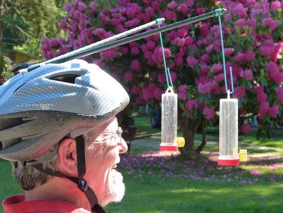 Hummingbird Feeder Helmet, Silver & Gray, Watch The Video