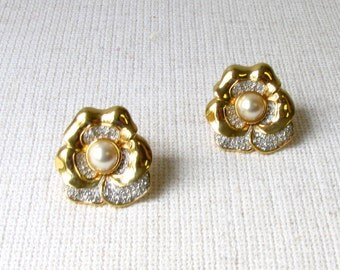 Swarovski American LTD ( SAL) - Gold Tone with Crystals and Faux Pearl Clip-on Earrings