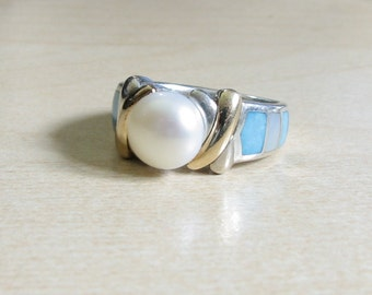 Eric Grossbardt XOX XO Sterling/18K Pearl Ring with MOP and Turquoise Inlay