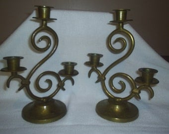 Vintage Set of  Brass Candle Holders