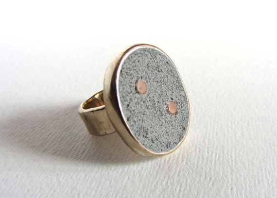 Bronze, concrete and cubic zirconia statement ring