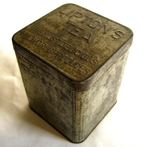 Tin Mailbox: Vintage Tin Box Lipton's Tea Planter Ceylon By Retrovertigo