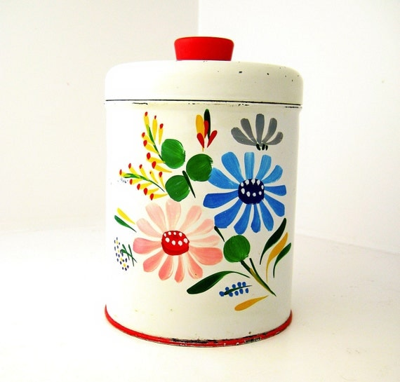 Colorful Vintage Metalware Tin Kitchen Canister