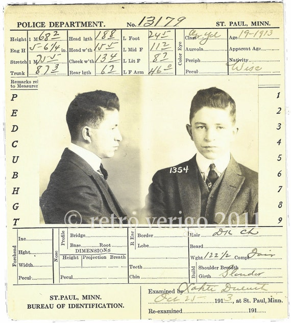 Prisoner No 1354 - Teen Mugshot - Antique Bertillon Card - Teenage Thief via Wisconsin - Post Edwardian Era - Saint Paul MN Police Dept