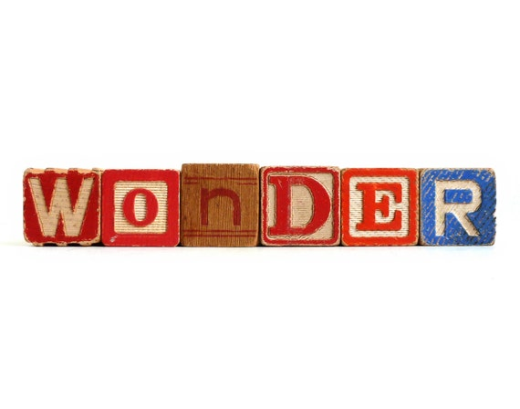 WONDER Vintage Letter Blocks - Recycled Kid's School Toys - Inspire Curosity and Play - Personalized Words Available - Red & Blue ABCs