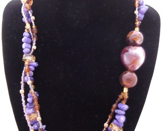 Purple Passion - Woven beadwork necklace