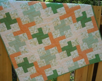 SALE Baby Girl, Toddler, Mint Green and Coral Hand Quilted Patchwork Quilt with Tea Pots and Teacup Print 36 x 44 inches, Keepsake