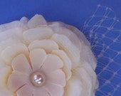 Kathleen, ivory hair fascinator with tan pearl, Russian French netting
