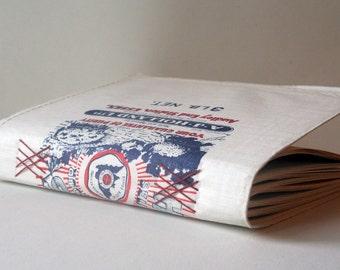 upcycled vintage flour sack artist's journal, mixed media