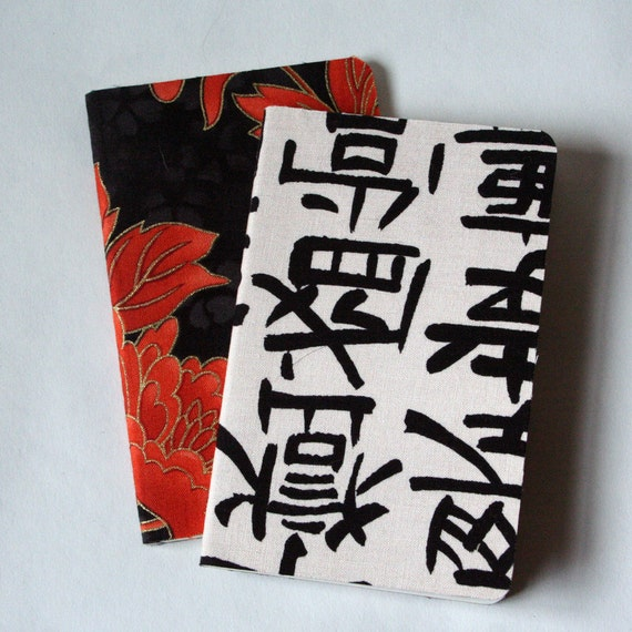 asian inspired fabric covered moleskines, set of 2