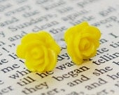 Sunny Yellow petite cabochon resin earrings