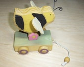 Hand Painted Bumble Bee Pull Toy