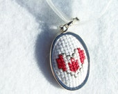 CLEARANCE Flag Pendant, Cross Stitch Pendant, Embroidered Necklace, Needlework Pendant- CANADA - Ready to Ship