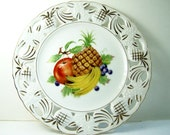 CLEARANCE Vintage Decorative Fruit Themed Plate,  Cottage Style Pineapple Display Plate, Reticulated Edge Plate