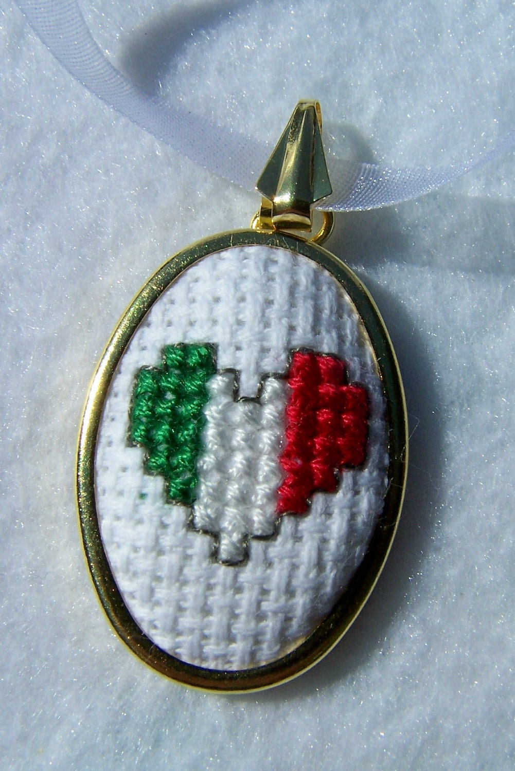 Sale cross stitch pendant embroidered necklace by