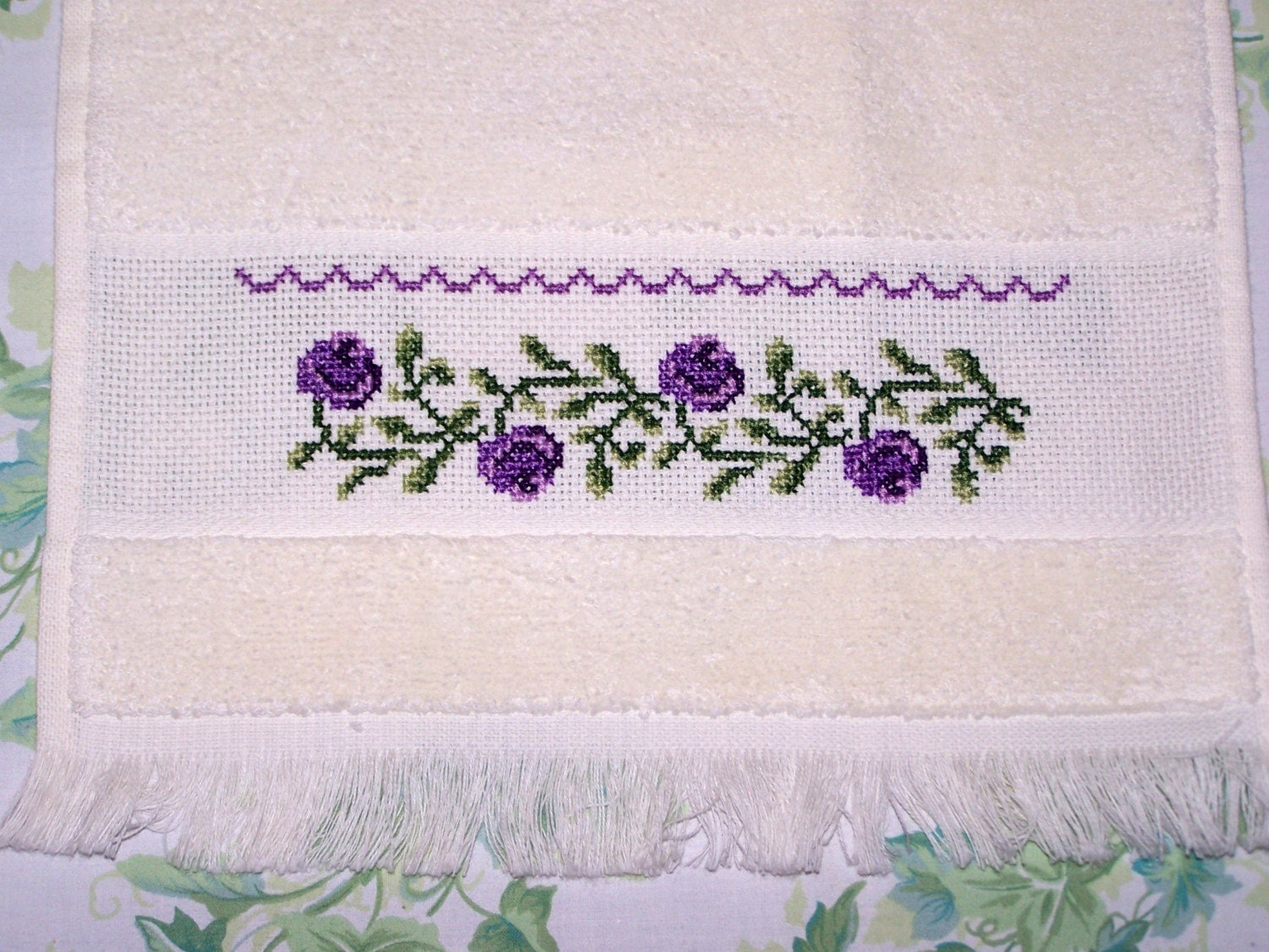 Cross Stitch Velour Towel Shabby Chic Roses By Witsenddesign