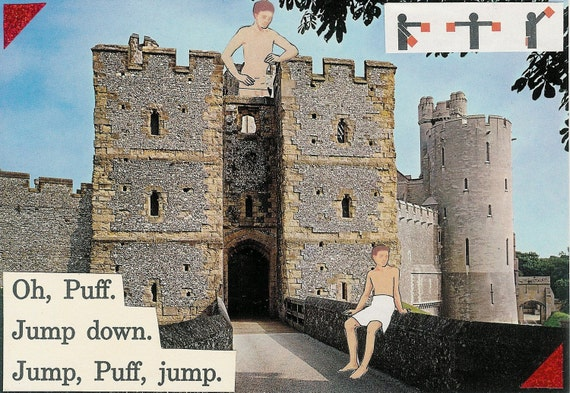 Oh, Puff hanging postcard mini-artwork