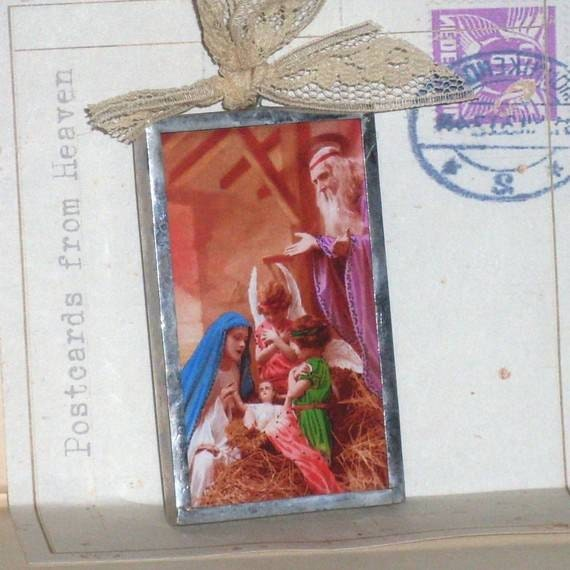A Child is Born - Postcards from Heaven - Nativity - Christmas Ornament - Soldered Glass Ornament Made with Vintage Ephemera