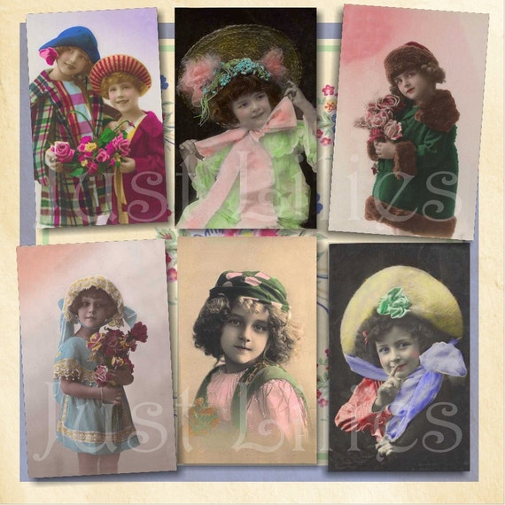 Girls in Pretty Hats no. 1 - Set of 6 Digital Images