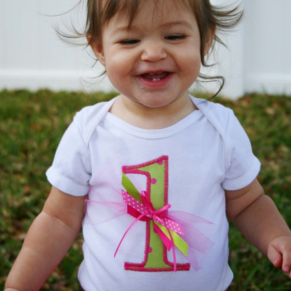 RESERVED LISTING for sarahnasim Happy Happy Birthday Number Onesie in Lime and Pink Dot