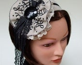 Clearance. Linen Calligraphy Rosette Headband, Black and Vintage Lace Accents