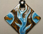 Blue Flames Ceramic Pendant