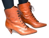 VTG 80's Victorian Leather Lace Up High Heel OXFORD Ankle Boot Bootie 9.5 10