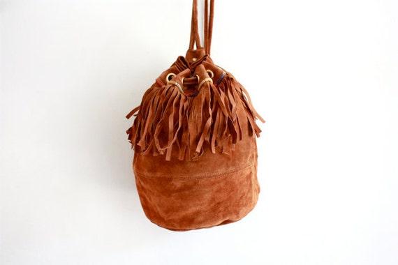 VTG Italian Suede Fringe Bucket Knapsack Backpack