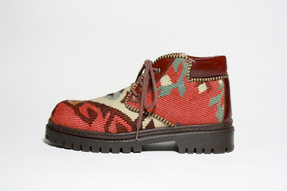 VTG Tapestry KILIM Lace Up Combat Ankle Boot 8.5 9