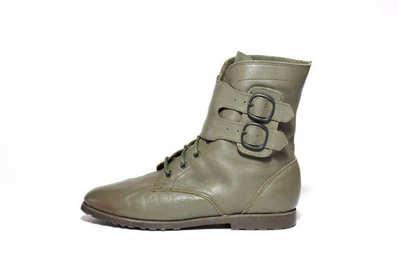 VTG 80's Olive Green Lace Up Double Buckle Ankle Boots 6.5