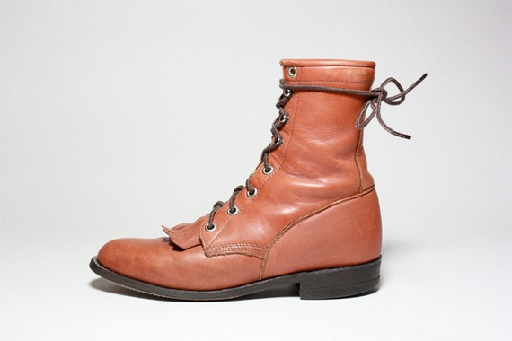 RESERVED VTG Rust Leather JUSTIN Lace Up Roper Riding Ankle Boots 6 6.5