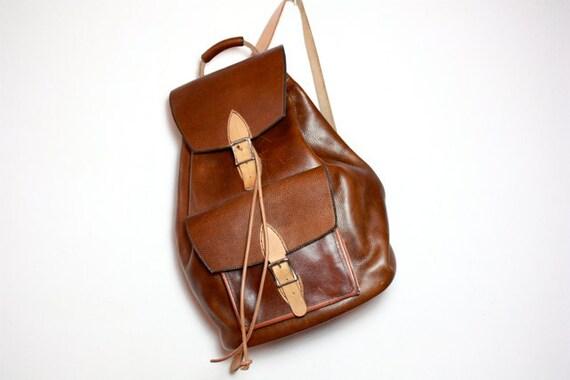VTG 90's Extra Large Handmade Leather Buckle Backpack Rucksack