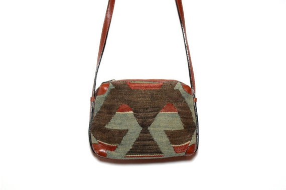 VTG Turkish Kilim Tapestry and Leather Purse