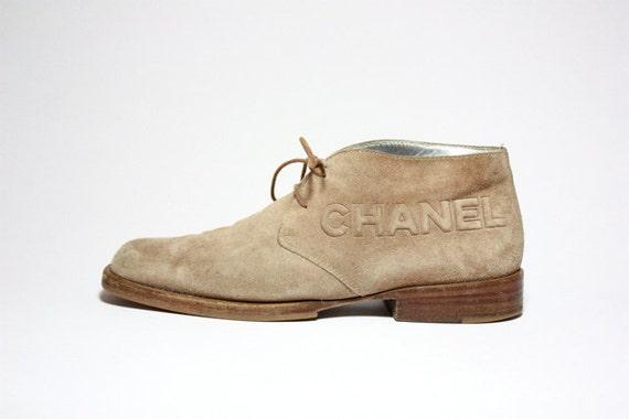 VTG 90's Chanel Logo Lace Up Desert Ankle Boots 8.5