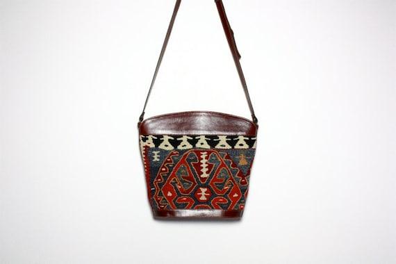 VTG Turkish Kilim Tapestry and Leather Bucket Bag Satchel