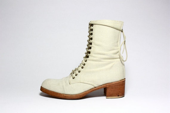 VTG Cream Canvas  Lace Up Oxford Combat Ankle Boots 6.5