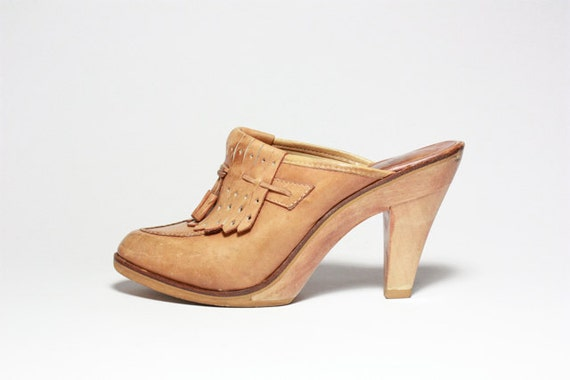 Vtg 70's Leather Tassel Fringe High Heel Clogs 8