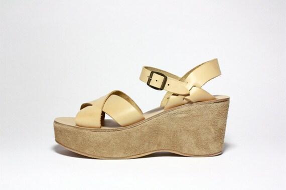 VTG Kork Ease Nude Leather Platform Wedge Sandals 8.5