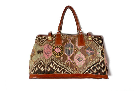 VTG Oversized Turkish Kilim Tapestry Weekender Bag