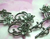 BULK -10% ( B314BK ) 20 Sets - Gunmetal Daisy Flower Toggle Clasp / Rod N Ring Findings